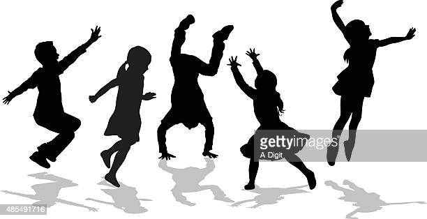 silhouette of high energy active kids - dancing stock illustrations, clip art, cartoons, & icons