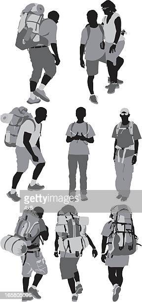 silhouette of hikers - picnic blanket stock illustrations, clip art, cartoons, & icons