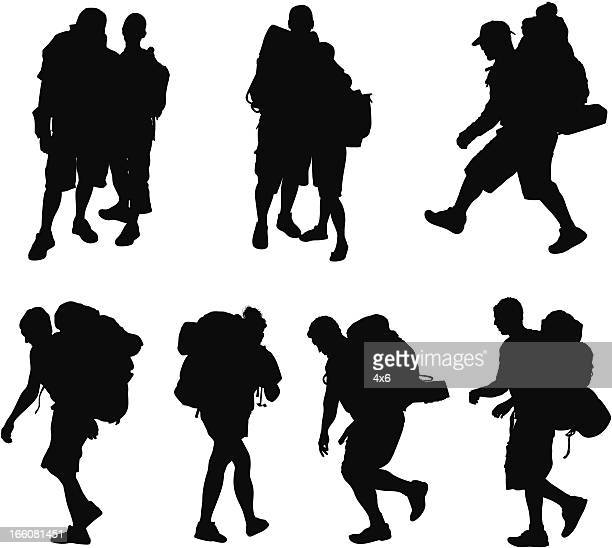 Silhouette of hikers