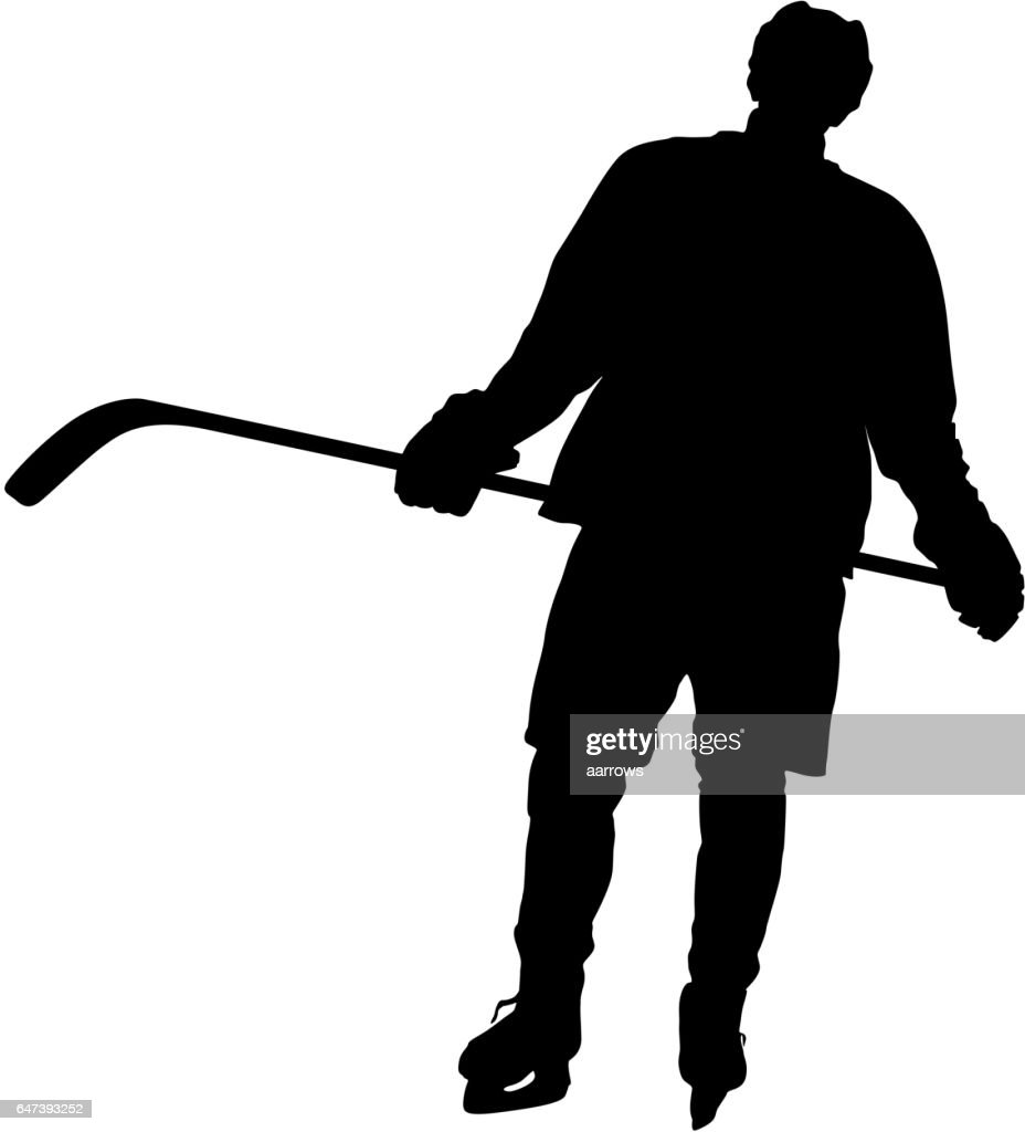 Silhouette of hockey player. Isolated on white. Vector illustrations
