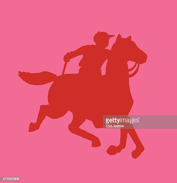 silhouette of horse and jockey - polo stock illustrations