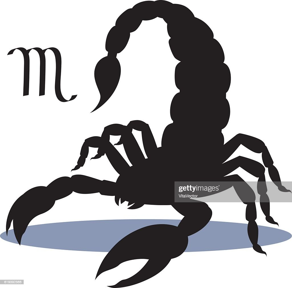 Silhouette of insect scorpion, isolated on background, astrological icon Scorpio.