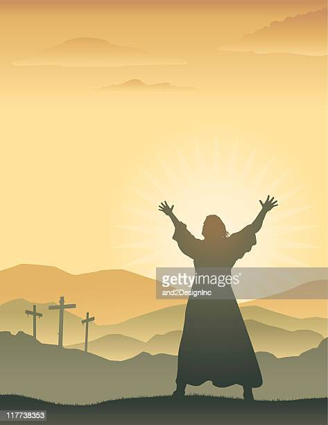 silhouette of jesus with raised arms on easter morning - jesus stock illustrations, clip art, cartoons, & icons