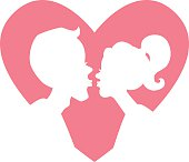Silhouette of kissing couple in light pink heart