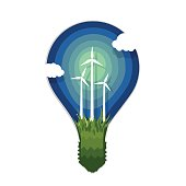 Silhouette of lamp with wind power generation. Application paper style.