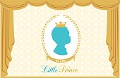 Silhouette of little prince. Luxury silk curtain and drapery.