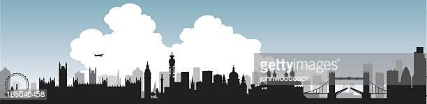 Silhouette of London skyline with single large cloud graphic