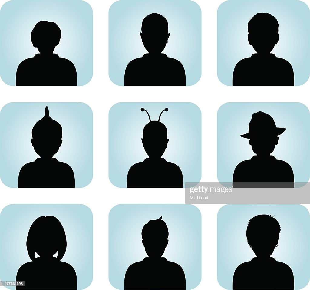 Silhouette of male  female as avatar profile pictures