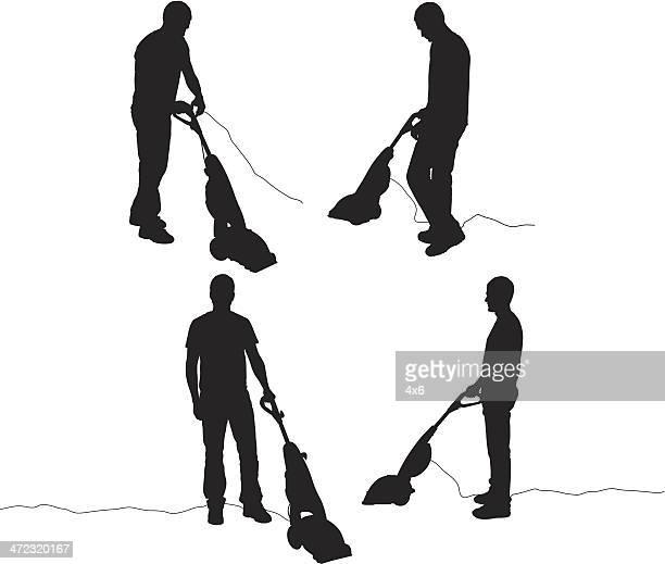 silhouette of men vacuuming - vacuum cleaner stock illustrations, clip art, cartoons, & icons
