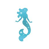 Silhouette of mermaid with dust glitters