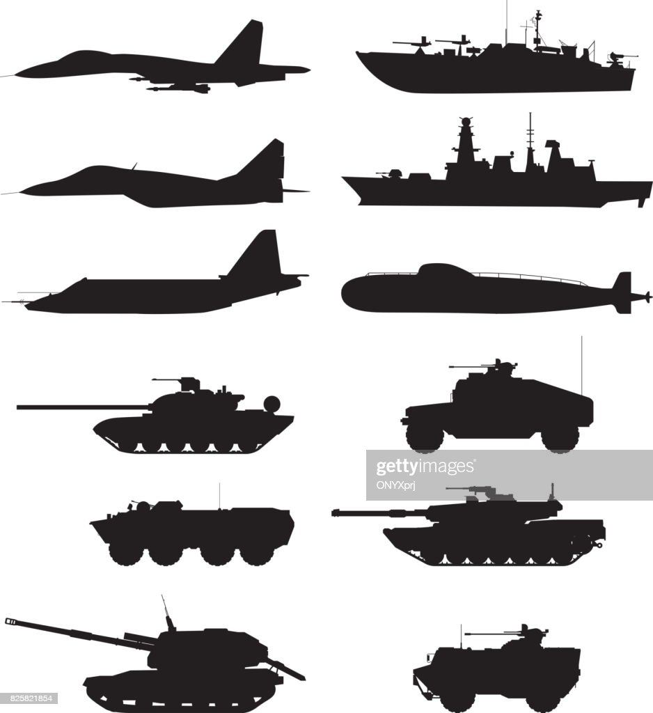 Silhouette of military machines support. Aircraft forces. Army vehicles and warships