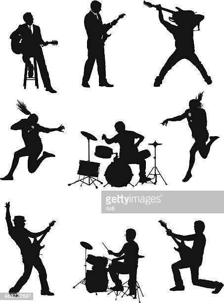 silhouette of musicians - rock object stock illustrations