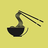 silhouette of noodle vector