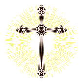 Silhouette of ornate cross with sun lights. Happy Easter concept illustration or greeting card. Religious symbol of faith