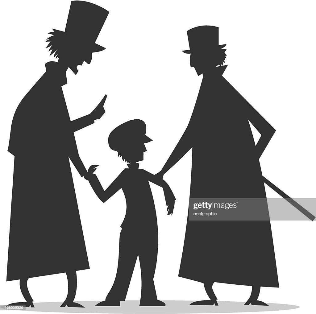 silhouette of orphan boy in danger
