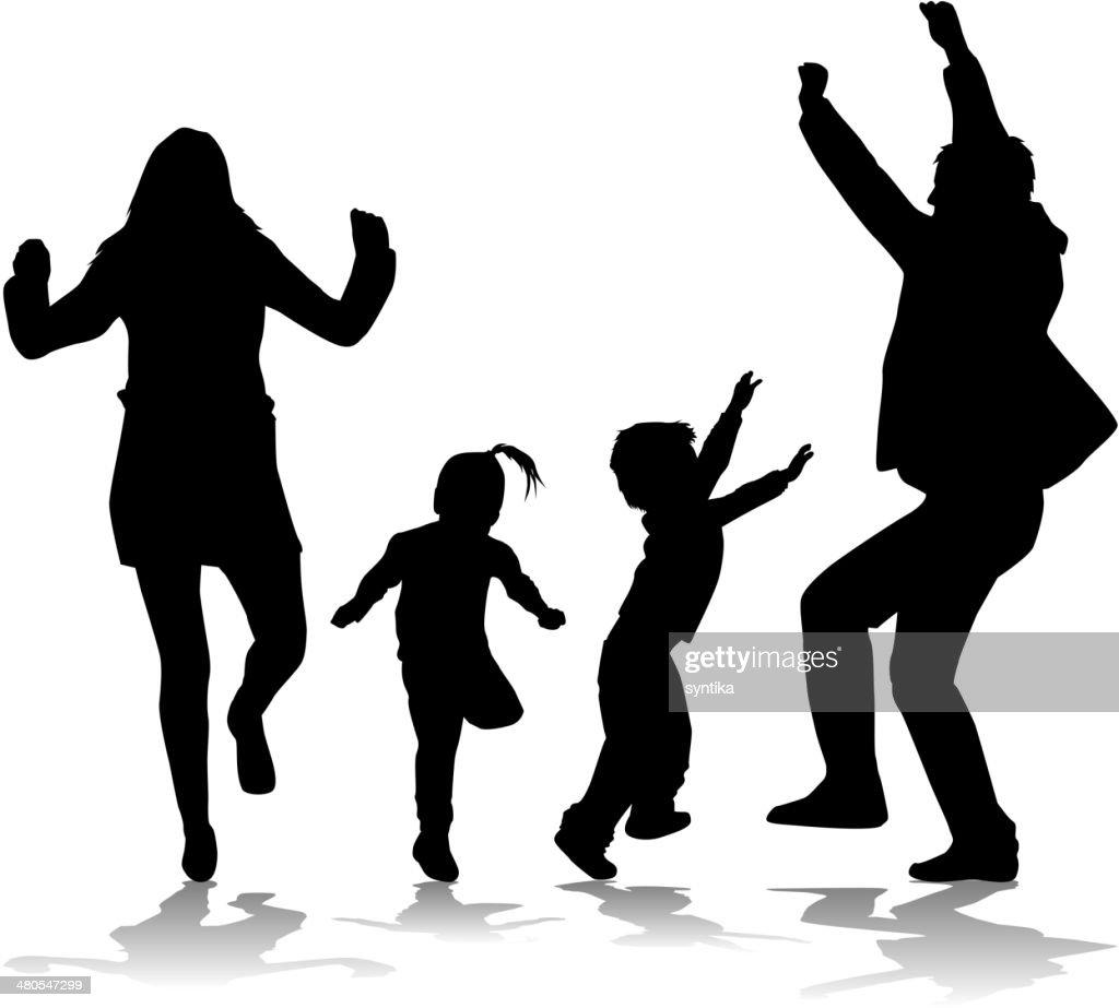 Silueta de los niños y sus padres : Arte vectorial
