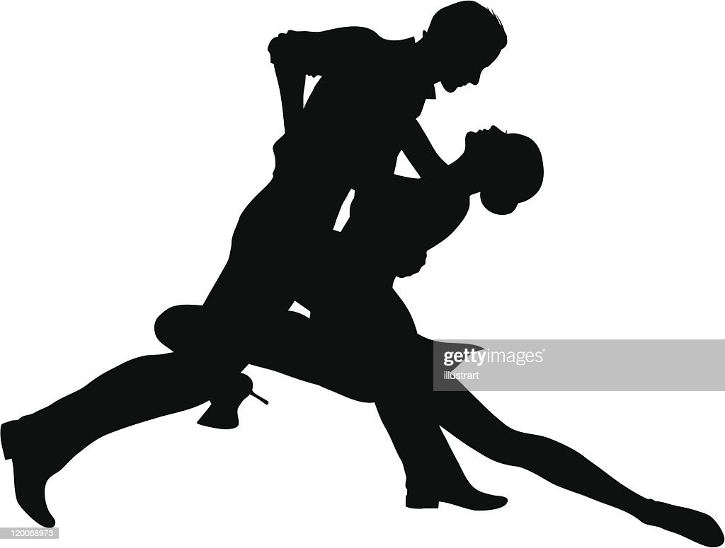 Silhouette of passionate tango dancing couple
