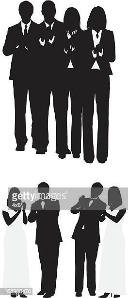 silhouette of people clapping - applauding stock illustrations, clip art, cartoons, & icons