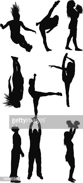silhouette of people dancing - standing on one leg stock illustrations, clip art, cartoons, & icons