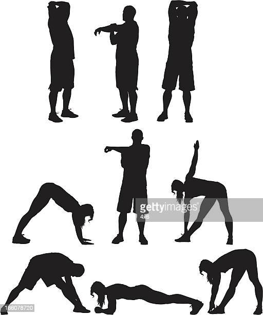 silhouette of people exercising - bending over stock illustrations, clip art, cartoons, & icons