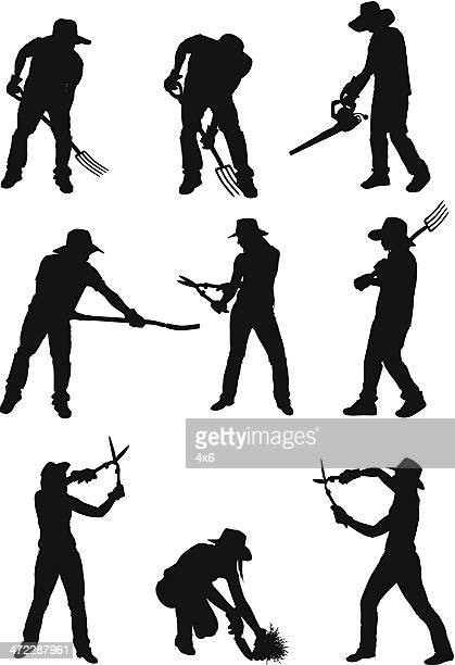 silhouette of people gardening - hedge trimmer stock illustrations, clip art, cartoons, & icons