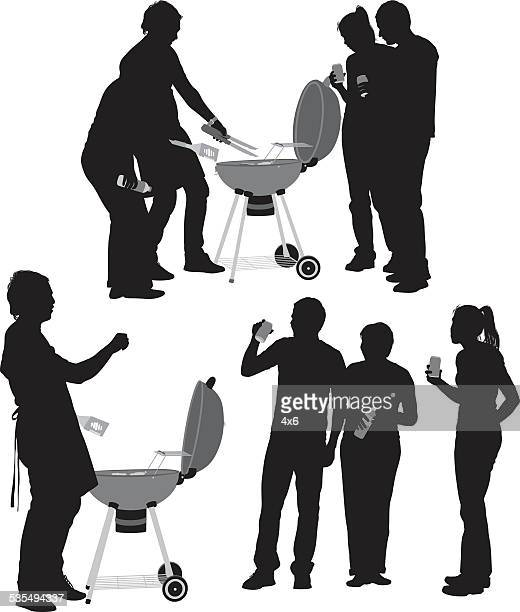 man bbq grill silhouette stock illustrations and cartoons