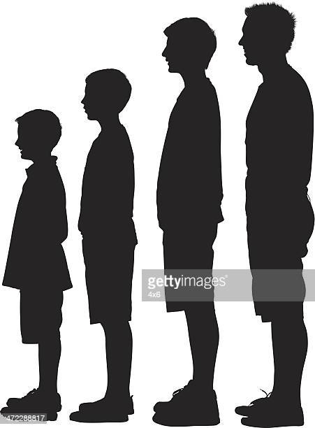 Silhouette of people in ascending order