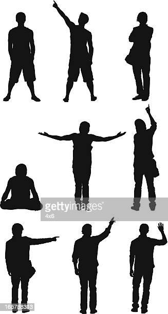 Silhouette of people in different activities