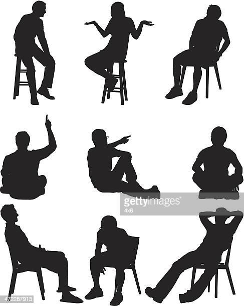 silhouette of people in different activities - stool stock illustrations, clip art, cartoons, & icons