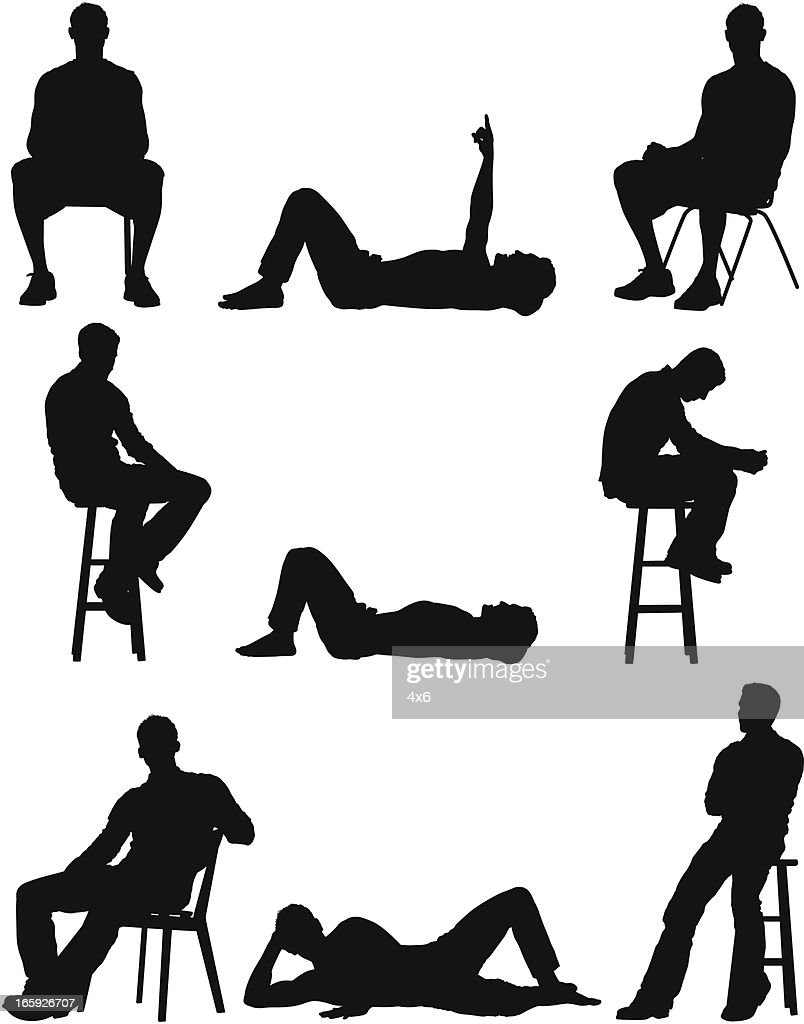 Silhouette of people in different poses : stock illustration