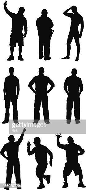 silhouette of people in different poses - arms akimbo stock illustrations