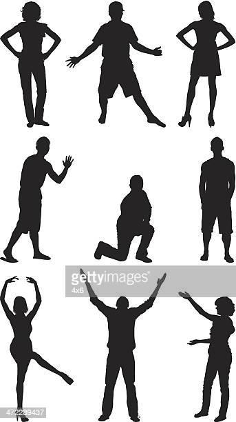 stockillustraties, clipart, cartoons en iconen met silhouette of people in different poses - human arm