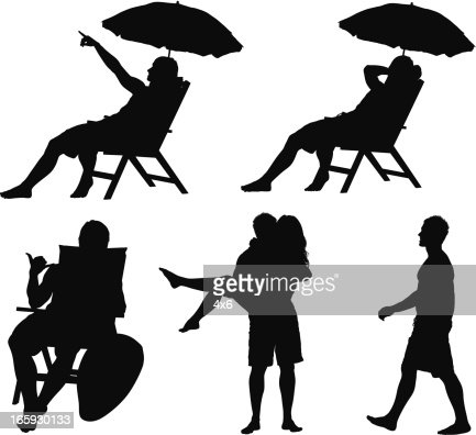 Silhouette Of People On Vacations Stock Illustration