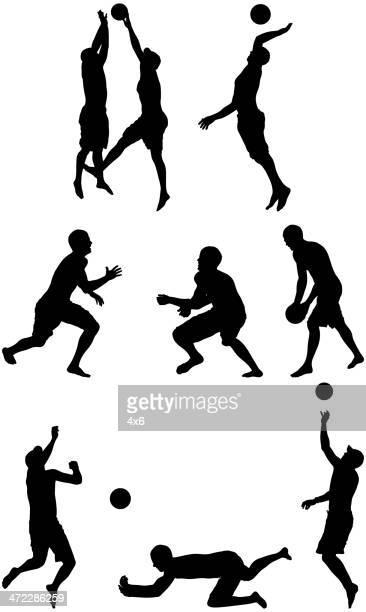 illustrazioni stock, clip art, cartoni animati e icone di tendenza di silhouette di persone giocare a beach volley - beach volley