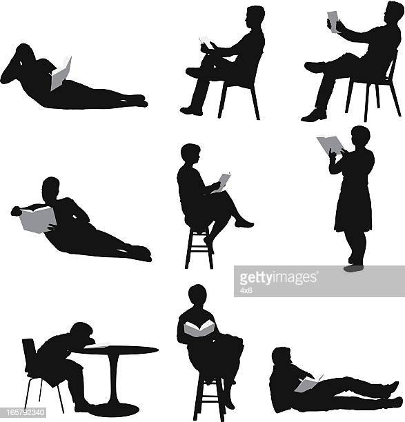 silhouette of people reading books - holding stock illustrations, clip art, cartoons, & icons
