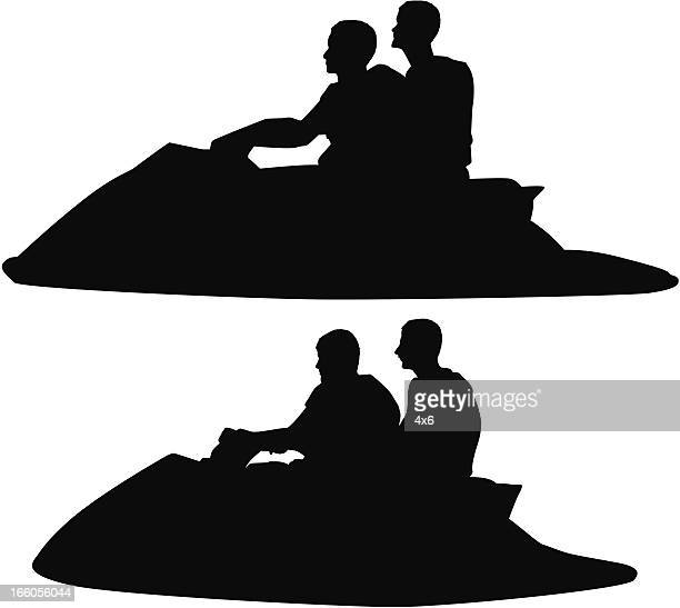 silhouette of people riding jet ski - motorboating stock illustrations, clip art, cartoons, & icons