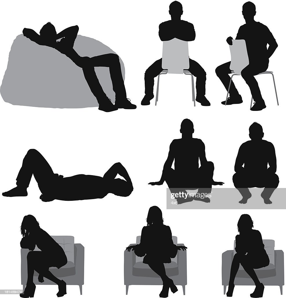 Silhouette of people sitting in different poses