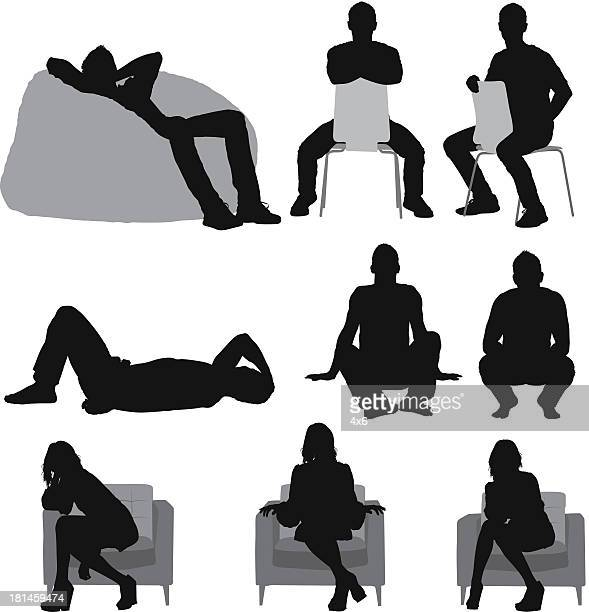 silhouette of people sitting in different poses - relaxation stock illustrations, clip art, cartoons, & icons