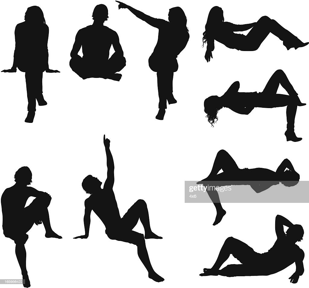 Silhouette of people : stock illustration