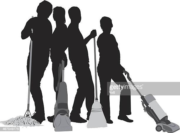 Silhouette of people with cleaning equipments