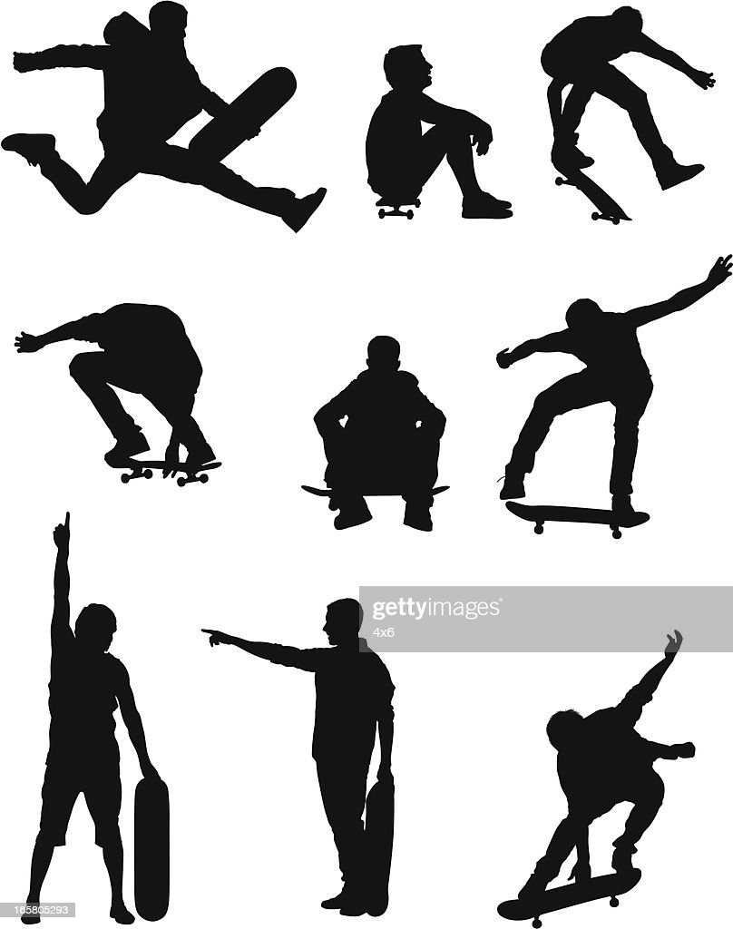 Silhouette of people with skateboard