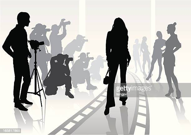 silhouette of photographer on modeling shoot - catwalk stock illustrations, clip art, cartoons, & icons