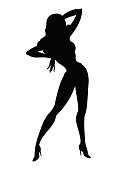 Silhouette of pin-up sexy girl