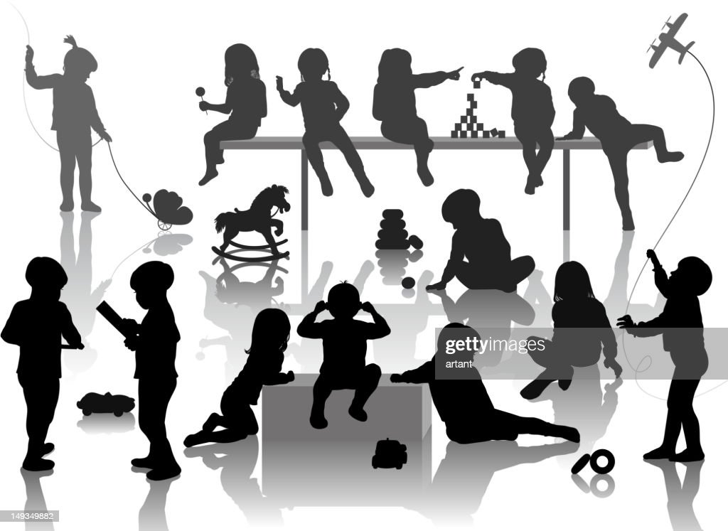 silhouette of playing children