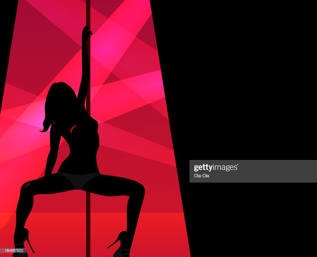 Silhouette of pole dancer within keyhole shape