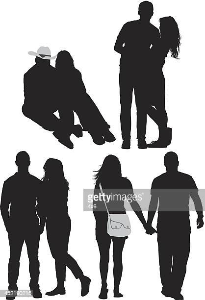Silhouette of romantic couples