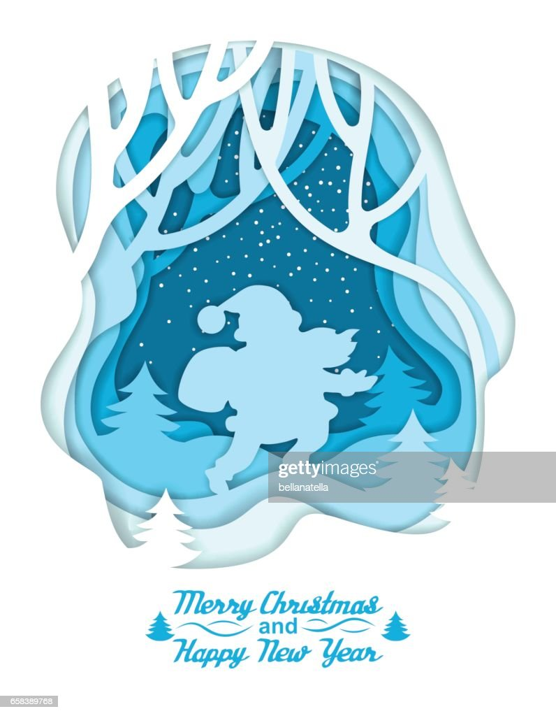 Silhouette of Santa on winter forest background. Lettering Merry Christmas and Happy New Year. Colorful paper cut layered. Layer art. Illusion of depth.