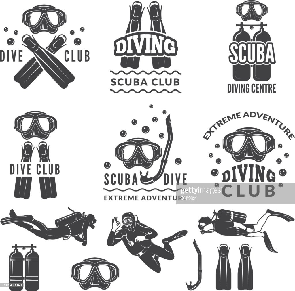 Silhouette of scuba and divers. Labels for sea sport club