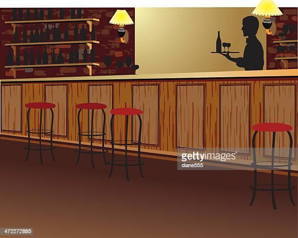 silhouette der kellner trägt tablett hinter leeren bar - bartresen stock-grafiken, -clipart, -cartoons und -symbole