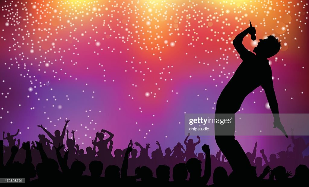 Silhouette Of Singer And Crowd On Rock Concert ...